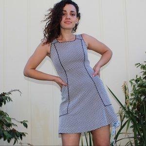 Lands' End Black White High Neck Skater Girl Dress